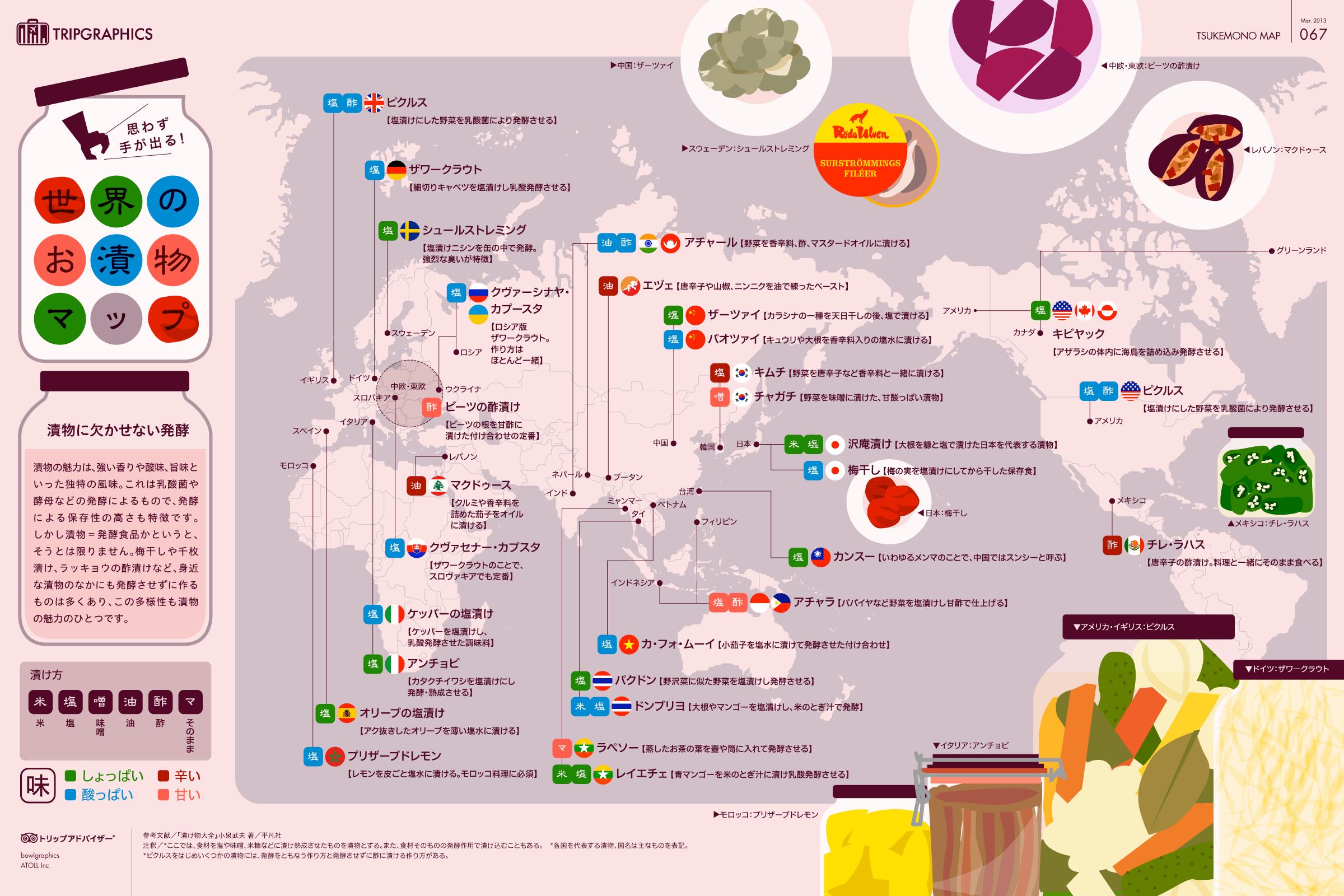 インフォグラフィック:世界のうまい漬物29種。日本代表は沢庵と梅干しが選出