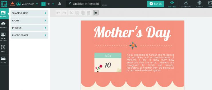 「piktochart」のインフォグラフィック制作画面