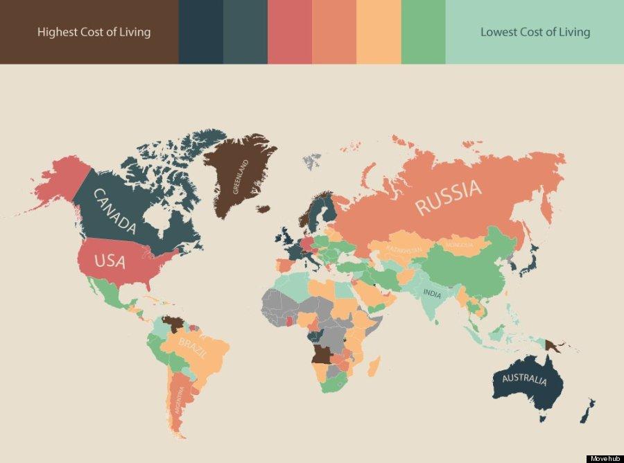 インフォグラフィック:生活費が高い国ランキング。日本はアジアで一番高い