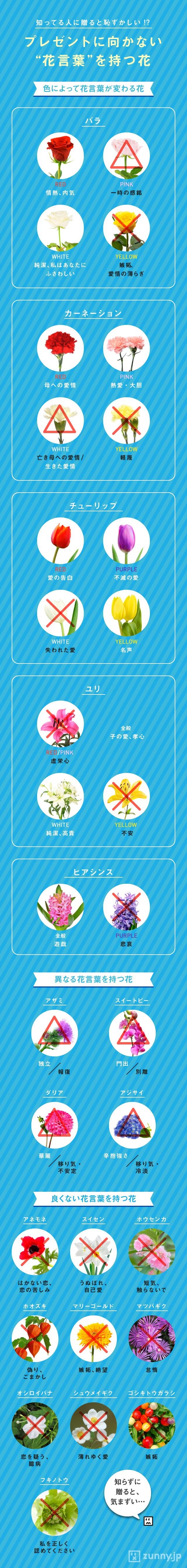 インフォグラフィック:花言葉を誕生日や記念日に贈る。野菜や果物、NGな怖い花言葉一覧