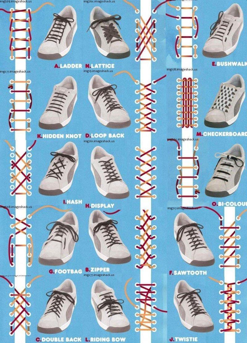 インフォグラフィック:かっこいい、ほどけない靴紐の結び方全15種類。用途別に使い分け