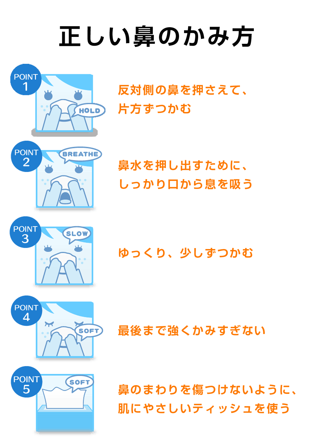インフォグラフィック:鼻を上手にかむ5つのルール。間違った鼻のかみ方は肺炎になる可能性も