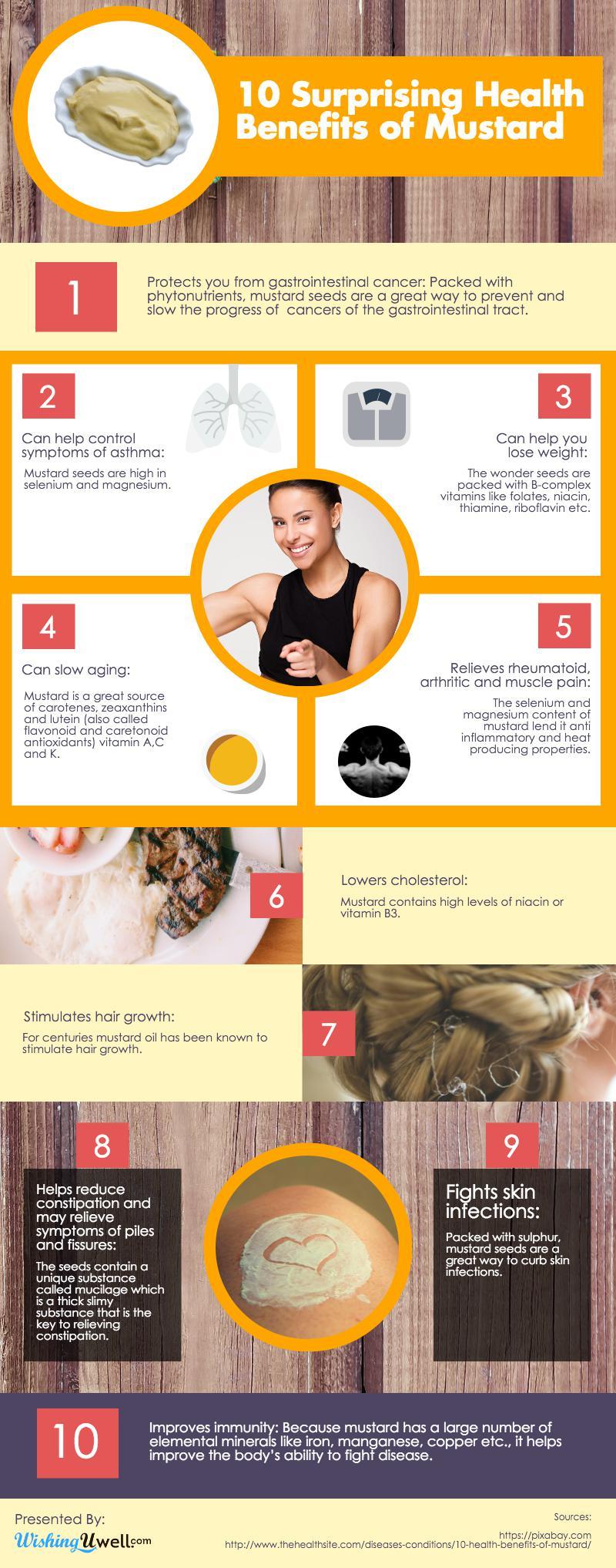 インフォグラフィック:マスタードの作り方と10の健康メリット。ダイエットや育毛にも効果あり